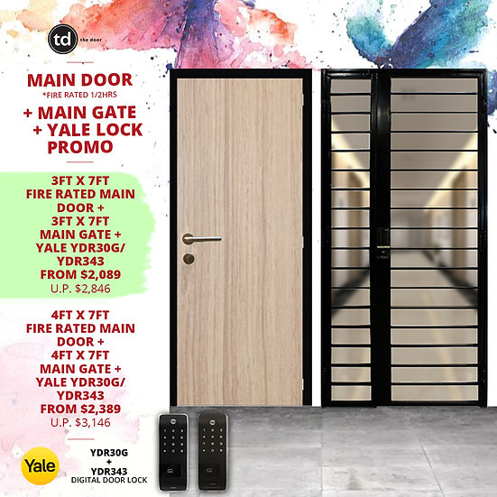 Laminate Fire Rated Main Door + Main Gate + Yale YDR30G/ Yale YDR343