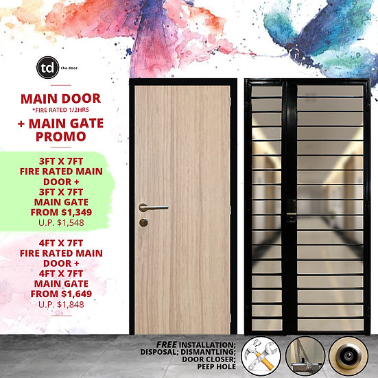 Laminate Fire Rated Main Door + Mild Steel Main Gate