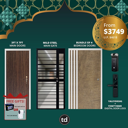 Laminate Fire Rated Main Door/ Main Gate+ 4 Bedroom Doors+ Yale YDR50G/YDM7116