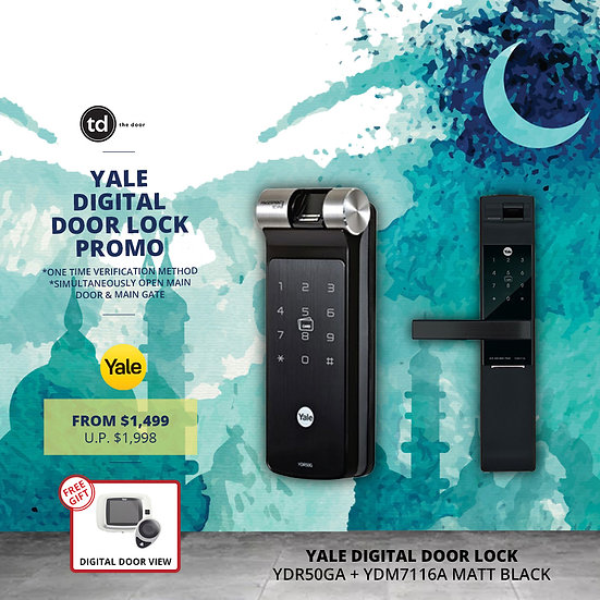 Yale YDR50G + YDM7116A Matt Black Digital Door Lock Bundle Deal