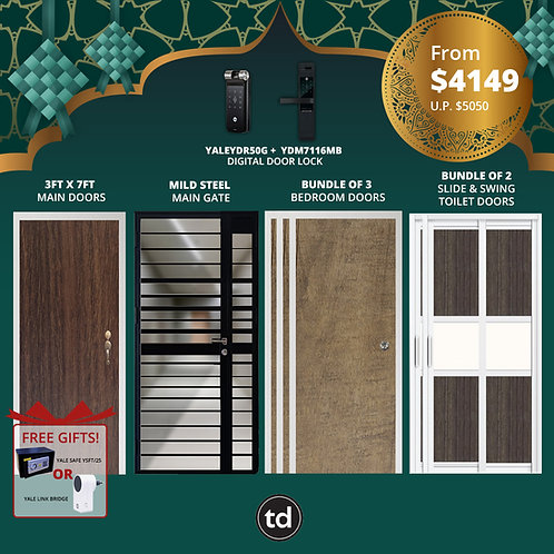 Laminate Fire Rated Main Door+ Main Gate+ 3 Bed / 2 Slide+ Yale YDR50G/YDM7116