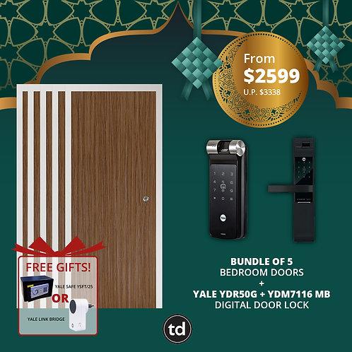Bundle of 5 Laminate Bedroom Doors + Yale YDR50G/ YDM7116MB