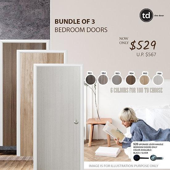 Bundle of 3 Melamine Semi Hollow Bedroom Doors
