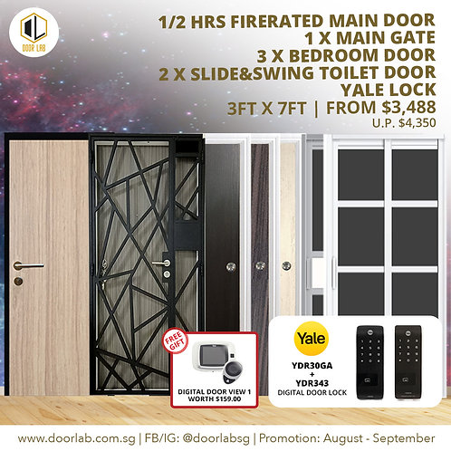 Laminate Fire Rated Main Door +Main Gate +3 Bedroom + 02 S&S+ x Yale YDR30GA/343