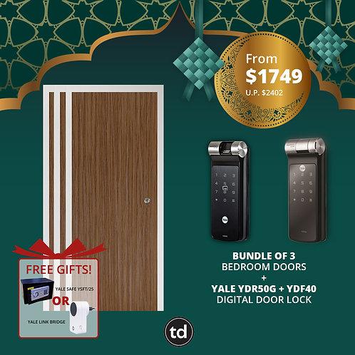 Bundle of 3 Laminate Bedroom Doors + Yale YDR50G/ YDF40