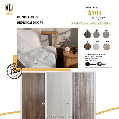 Package of 3- Melamine Semi Hollow Bedroom Doors