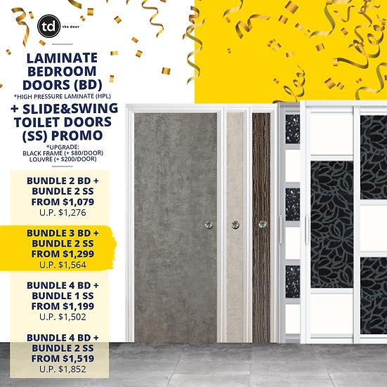Bundle of 3 Laminate Bedroom Doors + Bundle of 2 Slide & Swing Toilet Doors
