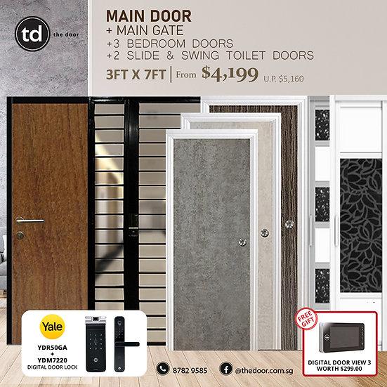 Laminate Fire Rated Main Door+ Main Gate+ 3 Bed / 2 Slide+ Yale YDR50GA/YDM7220