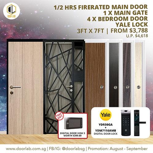 Laminate Fire Rated Main Door +Main Gate +04 x Bedroom Doors +YaleYDR50GA/7116A