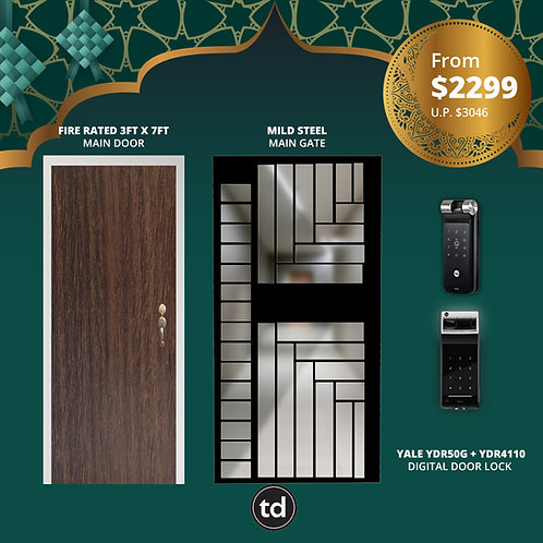 Laminate Fire Rated Main Door + Main Gate + Yale YDR50G/ Yale YDR4110