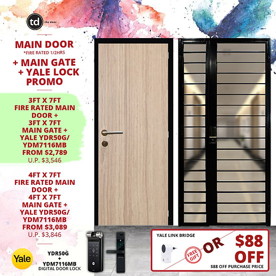 Laminate Fire Rated Main Door + Main Gate + Yale YDR50G/ Yale YDM7116MB