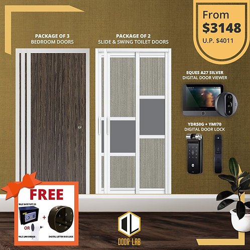 Bedroom Door + Slide & Swing Doors +Yale YDR50G/ YMI70 + Eques A27 Viewer