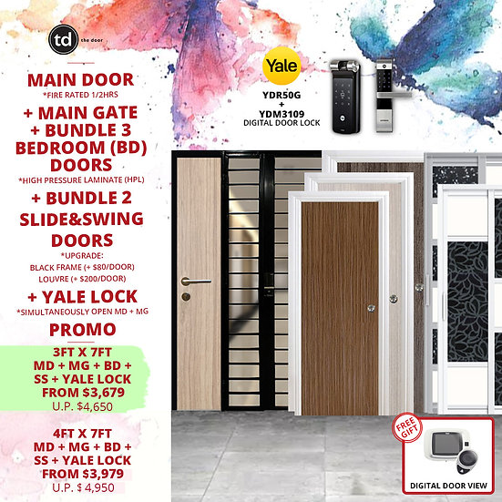 Laminate Fire Rated Main Door+ Main Gate+ 3 Bed / 2 Slide+ Yale YDR30G/YDM3109