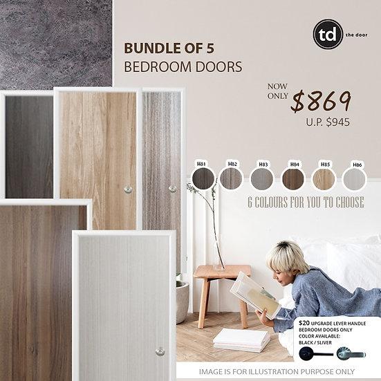 Bundle of 5 Melamine Semi Hollow Bedroom Doors