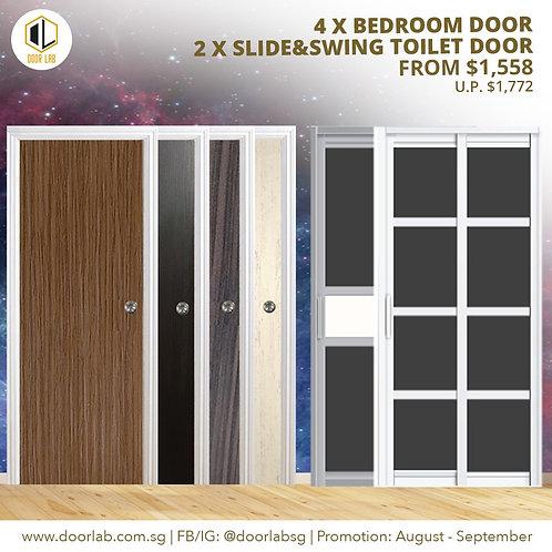 Package of 4 Laminate Bedroom Doors + Package of 2 Slide & Swing Toilet Doors
