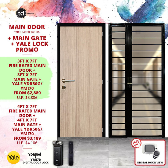Laminate Fire Rated Main Door+ Main Gate + Yale YDR50G/ Yale YMI70