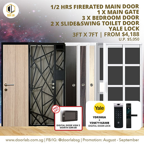 Laminate Fire Rated Main Door +Main Gate +03 Bed + 2 x S&S+ Yale YDR50GA/7116A