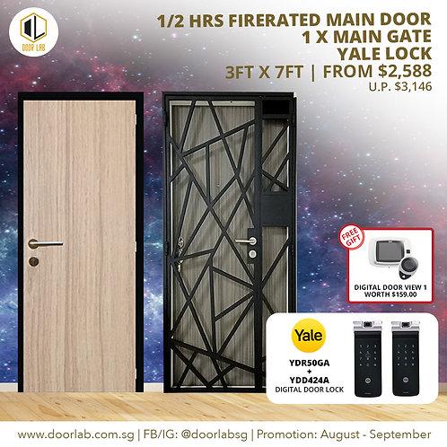 Laminate Fire Rated Main Door + Mild Steel Main Gate + Yale YDR50GA/ YDD424+