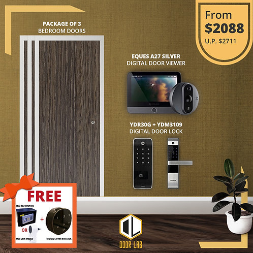 Package of 3- Bedroom Door +Yale YDR30G/ YDM3109 + Eques A27 Silver Viewer