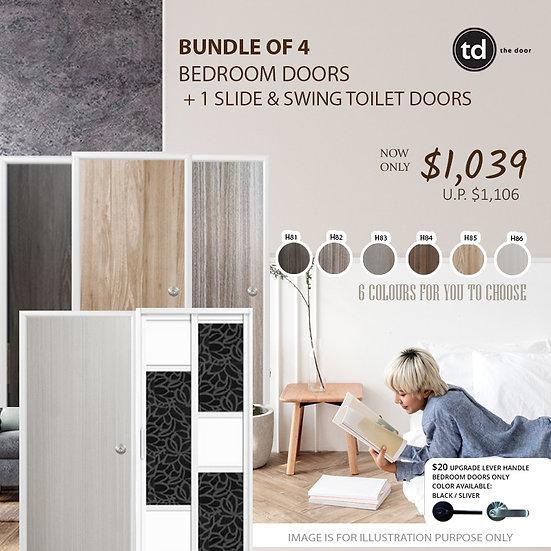 Bundle of 4 Melamine Semi Hollow Bedroom Doors + Slide & Swing Toilet Door