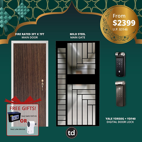 Laminate Fire Rated Main Door + Main Gate + Yale YDR50G/ Yale YDF40