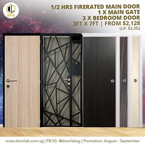 Laminate Fire Rated Main Door +Main Gate +03 x Laminate Bedroom Doors
