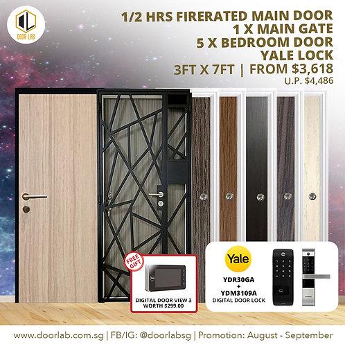 Laminate Fire Rated Main Door +Main Gate +05 Bedroom + Yale YDR30GA/3109