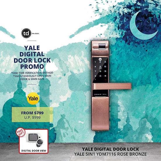 Yale 5IN1 YDM7116 Rose Bronze Digital Door Lock