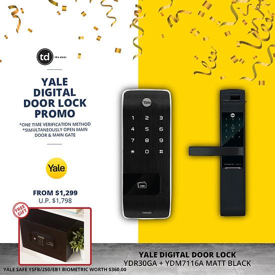 Yale YDR30GA + YDM7116A Matt Black Digital Door Lock Bundle Deal