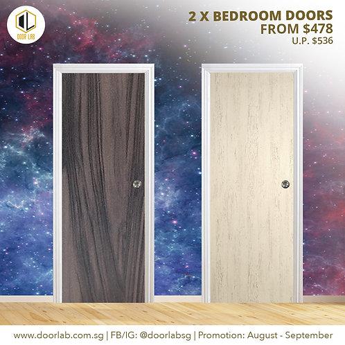 Package of 2- Laminate Solid Bedroom Doors