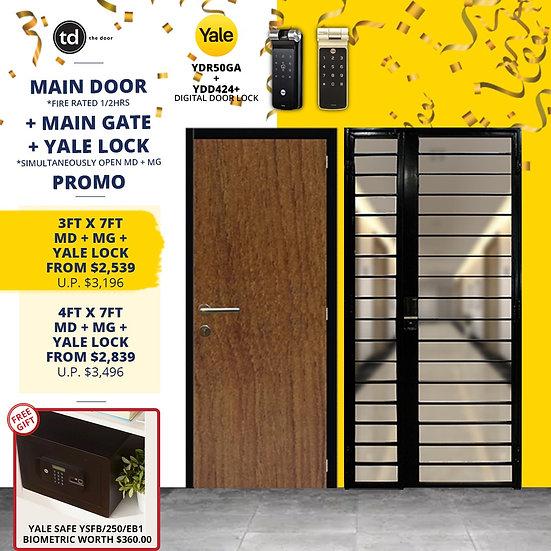 Laminate Fire Rated Main Door + Main Gate + Yale YDR50GA/ Yale YDD424+