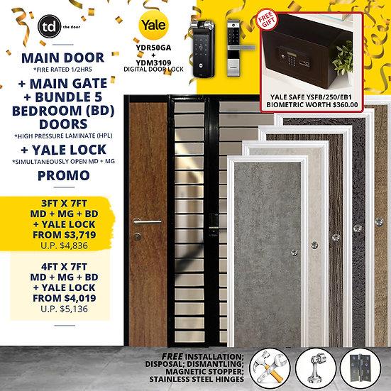 Laminate Fire Rated Main Door/ Main Gate+ 5 Bedroom Doors+ Yale YDR50GA/YDM3109