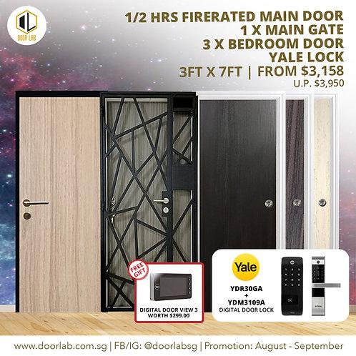 Laminate Fire Rated Main Door +Main Gate +03 Bedroom + Yale YDR30GA/3109
