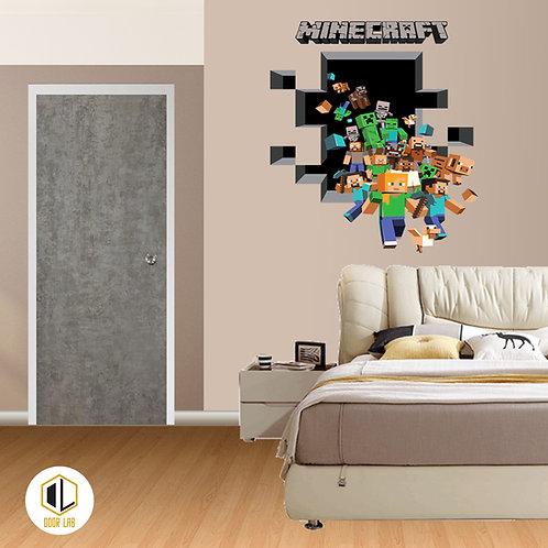 Solid Laminate Bedroom Door - Ash Cement