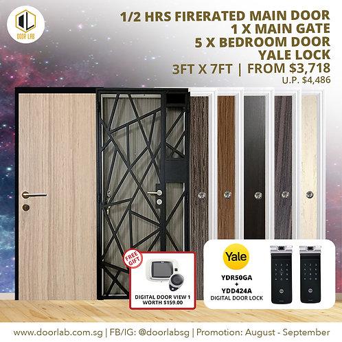 Laminate Fire Rated Main Door +Main Gate +05 x Bedroom Doors +YaleYDR50GA/424+