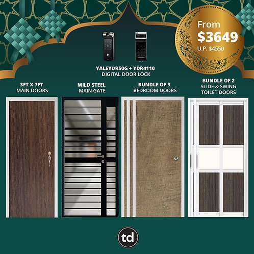 Laminate Fire Rated Main Door+ Main Gate+ 3 Bed / 2 Slide+ Yale YDR50G/YDR4110