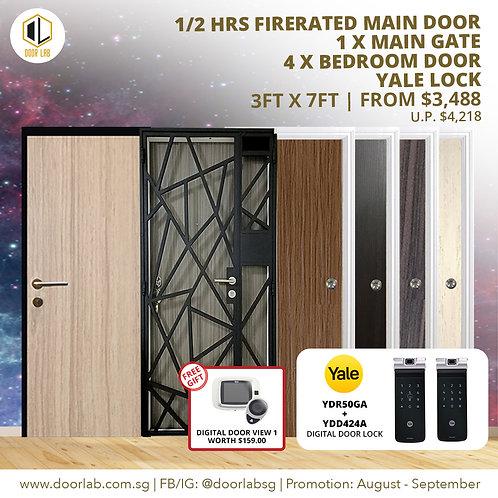 Laminate Fire Rated Main Door +Main Gate +04 x Bedroom Doors +YaleYDR50GA/424+