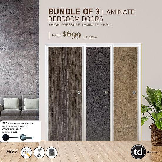 Bundle of 3 Solid Laminate Bedroom Door