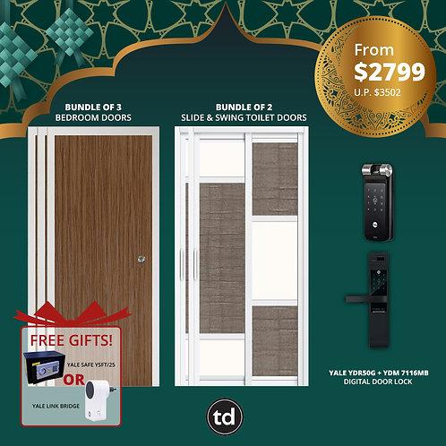 Laminate Bedroom Doors + Slide & Swing Doors + Yale YDR50G/ YDM7116MB