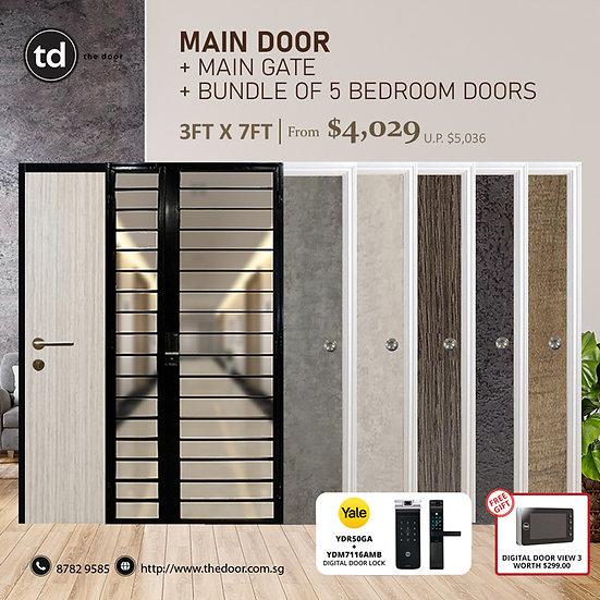 Laminate Fire Rated Main Door/ Main Gate+ 5 Bedroom Doors+ Yale YDR50GA/YDM7116A