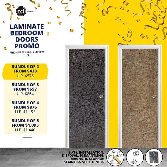 Bundle of 2 Laminate Solid Bedroom Door