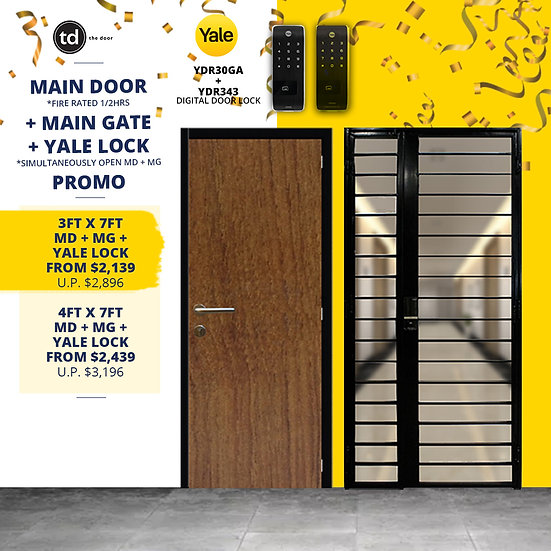 Laminate Fire Rated Main Door + Main Gate + Yale YDR30GA/ Yale YDR343