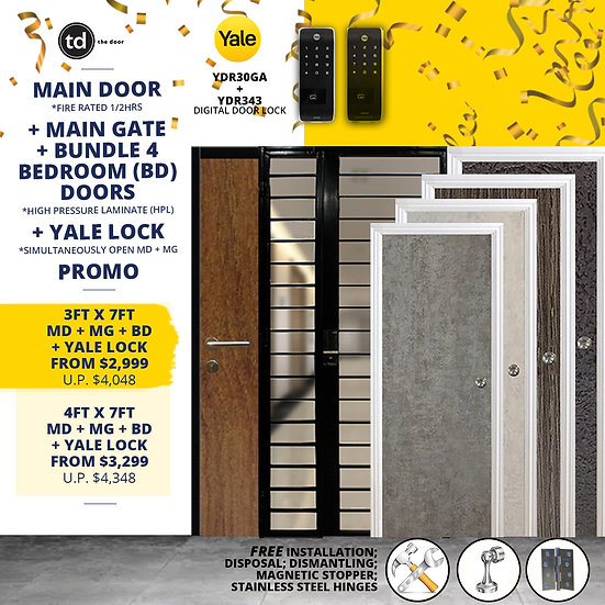 Laminate Fire Rated Main Door/Main Gate +  4 Bedroom Door + Yale YDR30GA/YDR343