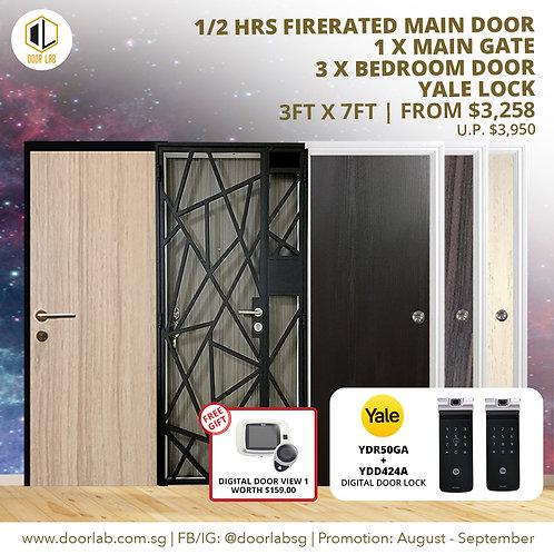 Laminate Fire Rated Main Door +Main Gate +03 x Bedroom Doors +YaleYDR50GA/424+
