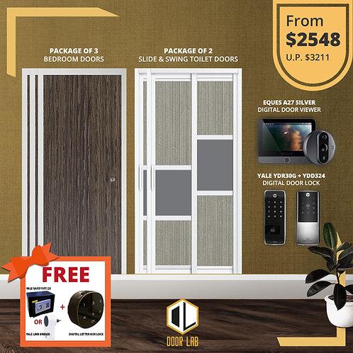 Bedroom Door + Slide & Swing Doors +Yale YDR30G/ YDD324 + Eques A27 Viewer