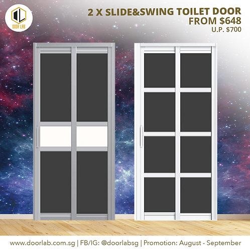 Package of 2 Slide & Swing Toilet Doors