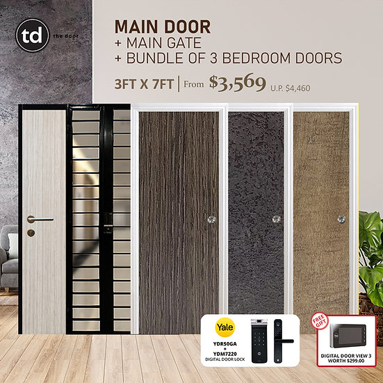 Laminate Fire Rated Main Door/ Main Gate+ 3 Bedroom Door+ Yale YDR50GA/YDM7220