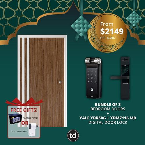 Bundle of 3 Laminate Bedroom Doors + Yale YDR50G/ YDM7116MB