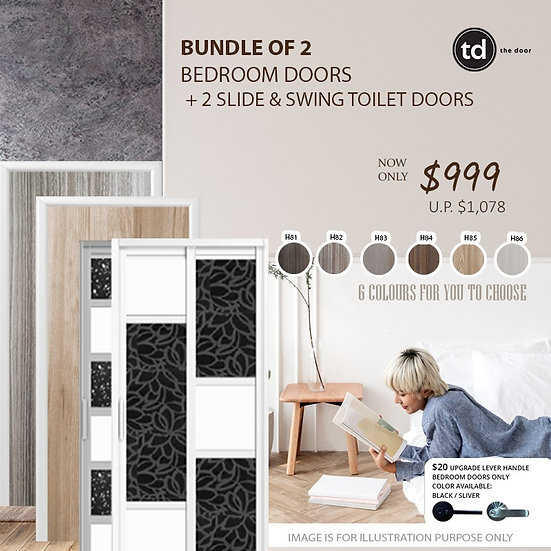 Bundle of 2 Melamine Semi Hollow Bedroom Doors + Bundle of 2 Slide & Swing Doors