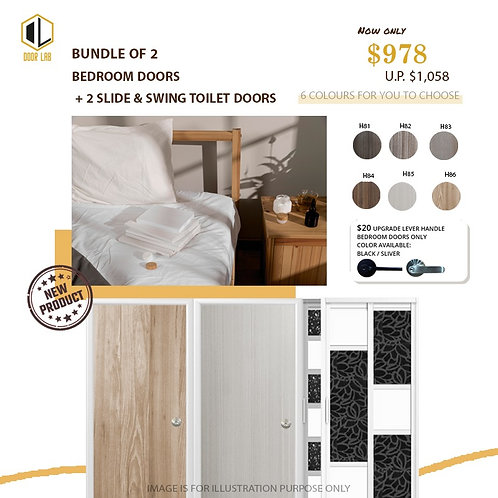 Package of 2- Melamine Semi Hollow Bedroom Doors + Package of 2 Slide & Swing